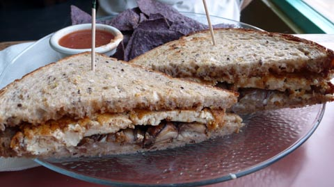 grilled tofu sandwich: tofu, grilled onion & mushrooms on toasted ...