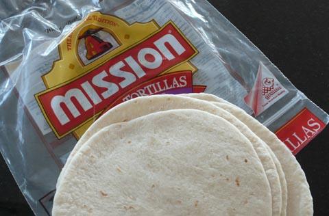 mission tortillas for vegan nachos -before