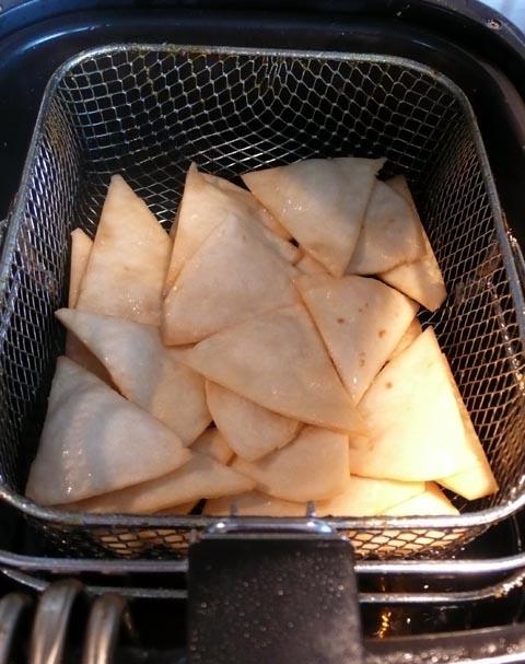 deep fry mission tortillas for homemade vegan nacho tortilla chips