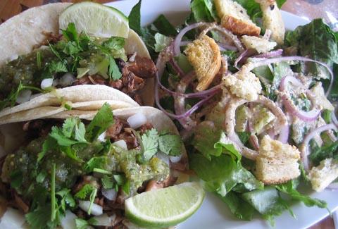 jackfruit carnitas tacos at pure luck vegan restaurant