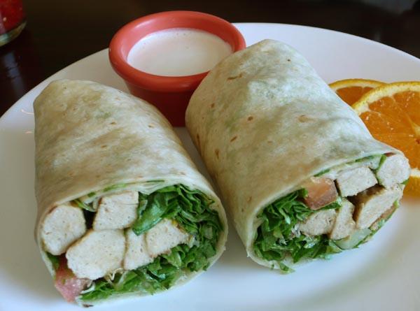 seitan wrap: romaine lettuce, seitan, avocado, tomato, alfalfa sprouts served with tahini sauce. $6.45