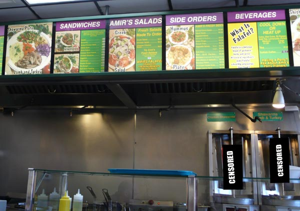 Big menu, reasonable portions.