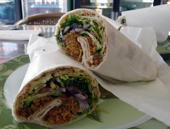bennito's burrito: falafel with hummus, olives, cucumber, tahini sauce and all the other vegetables. $6.95