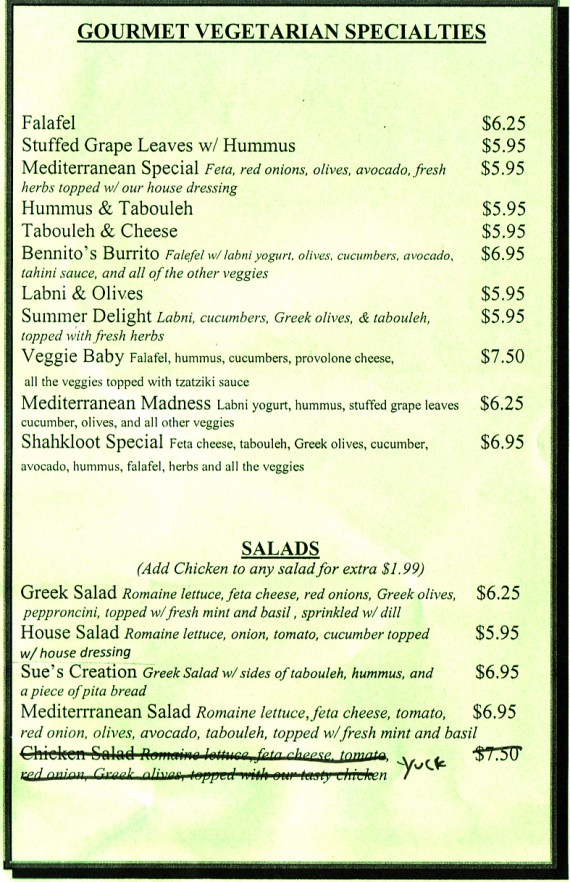 vegetarian menu, all can be made vegan. 