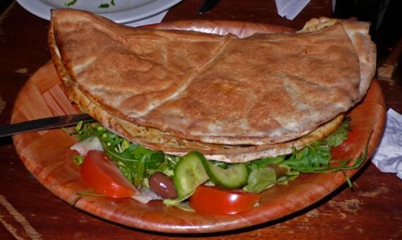 flat bread calzone. £7.95