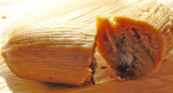 la guera sasquash tamale: organic baked yams and butternut squash in the masa with an organic sweet red bean filling.