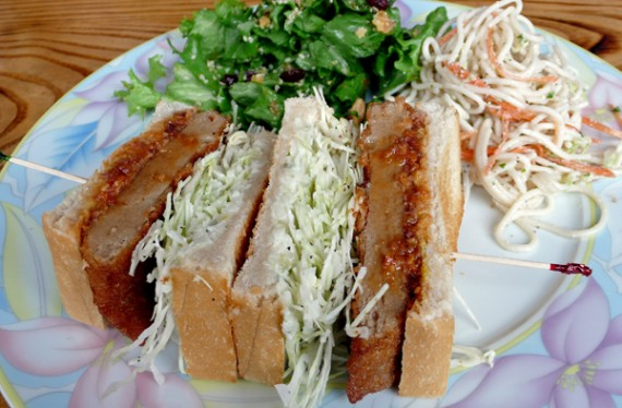 katsu sandwich: homemade organic seitan katsu, cabbage, mustard and italian miso sauce. served with salad and side dish. $8.95