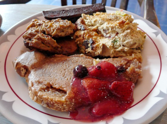 flore cafe all you can eat vegan brunch. french toast, vegan bacon, vegetarian frittata and &quot;chicken&quot; patties. $10