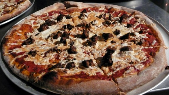 large purgatory vegan pizza with teese cheese and field roast sausage: $18