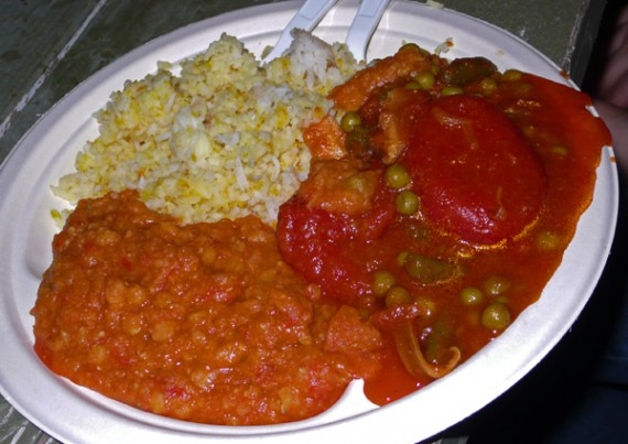 combination plate: coconut rice with dal and tomato pea curry
