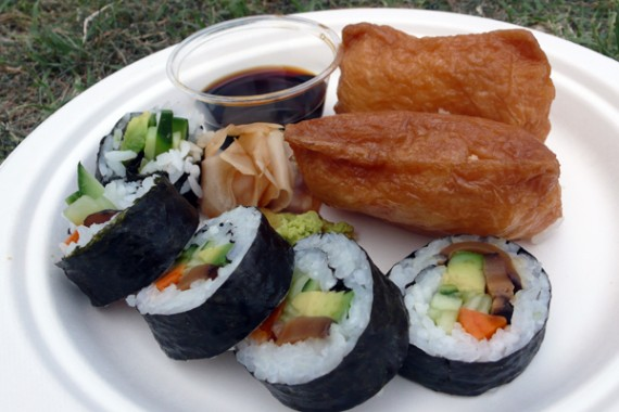 vegan sushi with a side of inari. $12