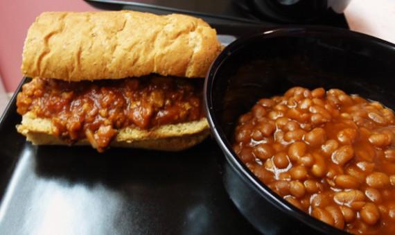 vegan sloppy joe and homemade baked beans