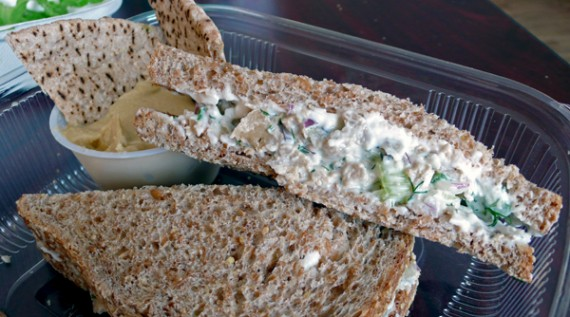 chopped seitan salad sandwich: seitan, celery, onions, vegenaise, dill and parsley on a whole grain bun. with a side of hummus and pita. $8