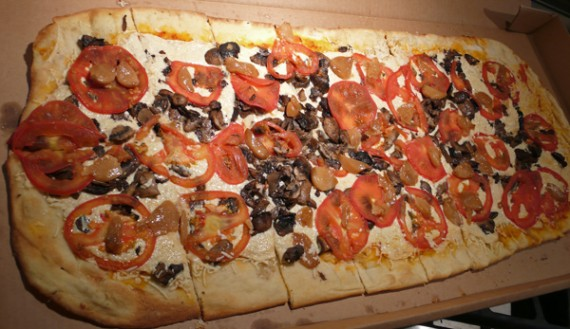 Vegan Pizza with Daiya Cheese, Mushrooms, Tomatoes and Roasted Garlic. $17