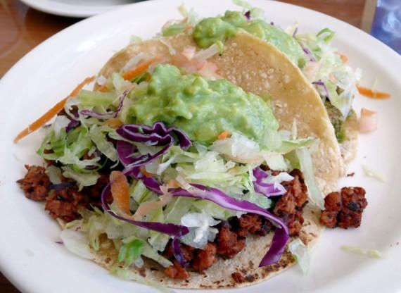 2 tacos: 1 chorizo, 1 tofu. $4.75