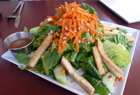 chinese tofu salad: marinated tofu, lettuce, carrots, cucumbers, red onions, crushed peanuts and organic sesame soy dressing. $10.95