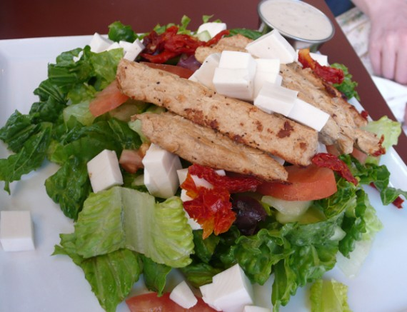 mediterranean salad: chicken or tofu, spinach, tomatoes, cucumber, red onion, sun dried tomatoes, kalamata olives, white balsamic vinaigrette, shredded mozzarella. $10.95