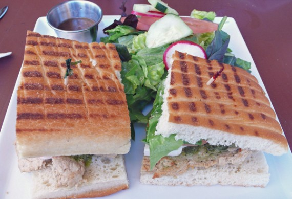 pesto chicken sandwich: chicken, lettuce, tomato, red onion, non dairy pesto, mozzarella and mayo. $10.95