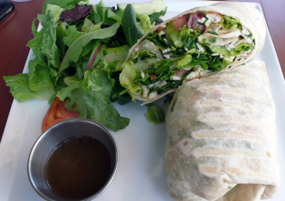 mexican cilantro wrap: chicken or tofu, lettuce, tomato, salsa, red onions, avocado, cilantro dressing, vegenaise, and shredded mozzarella. $10.95