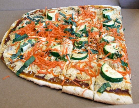 vegan indian pizza: vindaloo basil masala, daiya cheese, zucchini, basil and carrot.