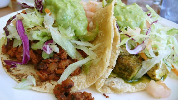 Chorizo and Tofu Tacos at Cinnamon Vegetarian