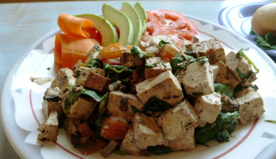 Tofu Scramble: Tofu, tomato, basil, mushroom, red onion &amp; spinach. $6.95