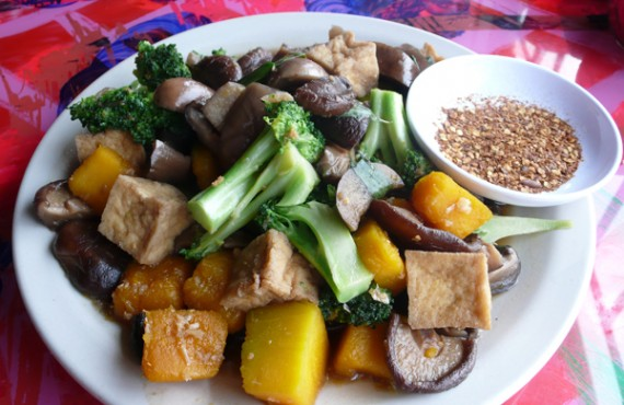 buddha chili: eggplant, pumpkin and fried tofu in a light soybean and garlic sauce with broccoli, mushrooms and spices. $11.95