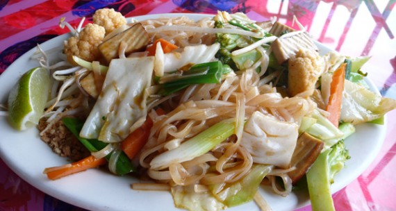 vegi pad thai (no egg!): thai noodles with mixed veggies, tofu, beansprouts, w/ peanuts on the side. $9.95