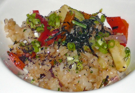 fried sushi rice with vegetables