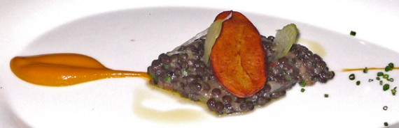 fingerling potato with beluga lentils, shaved celery and carrot curry sauce.