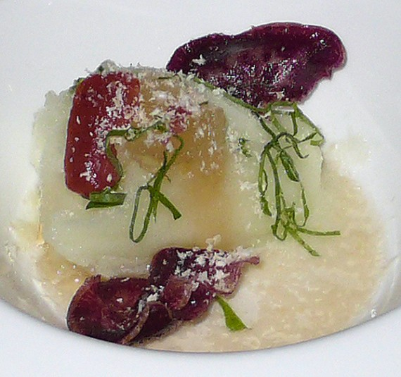 melon sorbet, reduced apple cider, plum, sweet potato and shiso with grated cashew
