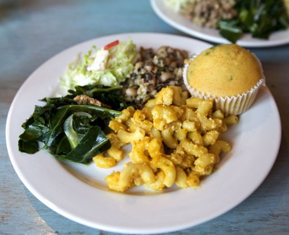 flore cafe vegan soul food buffet. all you can eat. $10. (photo courtesy of cuteanddelicious.com)