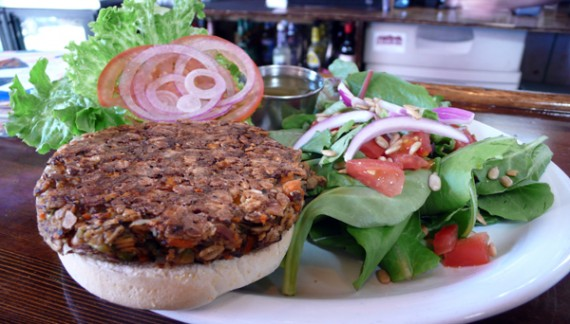 mash tun veggie burger: a housemade patty of chopped almonds, oats and veggies, served on a kaiser bun with vegenaise. $8.25