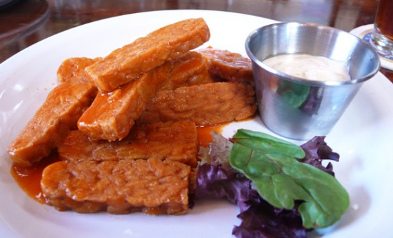 tempeh things: ain't no wing, but a tempeh thing! deep-fried tempeh, served buffalo or bbq style with housemade vegenaise. $6.75