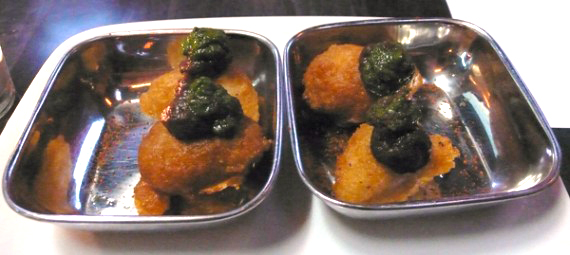 indian vada dumplings (veganized): crispy dal fritters topped with mince sauce and tamarind date chutney