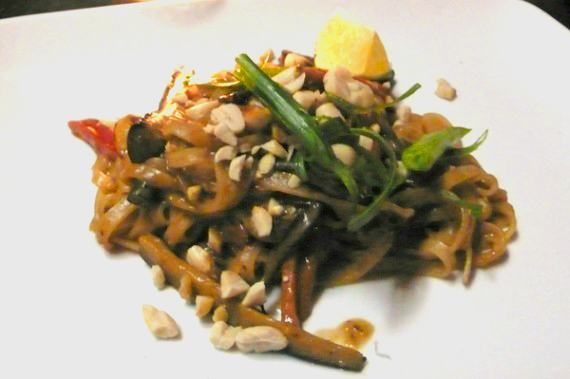 spicy peanut noodles with vegetables (veganized): flat rice noodles tossed with long beans, eggplant, carrot, zucchini, and tofu in toasted sesame peanut sauce