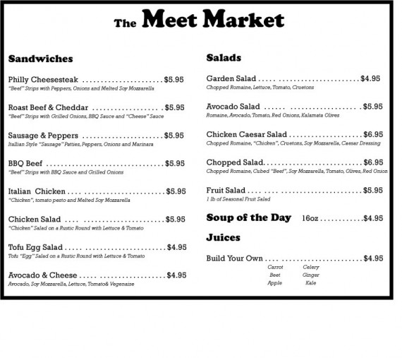 Meet Market Menu