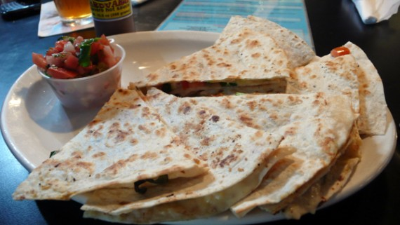 vegan quesadilla with vegetables, soy cheese and pico de gallo. $8