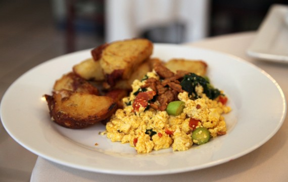 the Skillet, tofu scramble, seasonal vegetables, tempeh bacon, home fries. $15