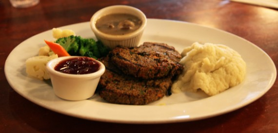 two new american veggie patties with our vegan, gluten-free mushroom gravy. Served with mixed seasonal vegetables, cranberry sauce and mashed potatoes. $13