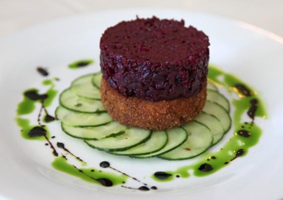 red beet tartare at madeleine bistro