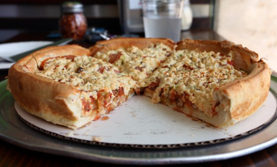 vegan deep dish pizza at fresh brothers