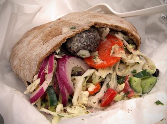 ... salad, corn, black beans, black olives, onion salad, tomato/cucumber
