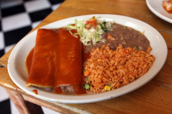 Enchiladas With Rice And Beans Combo plate w rice and beans